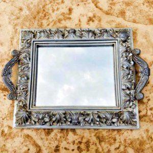 Vintage Mirrored Vanity Tray Silver Ornate Heavy